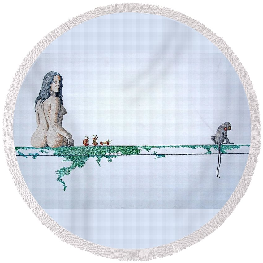 Female Figure Round Beach Towel featuring the painting Four Bitten Fruit by A Robert Malcom
