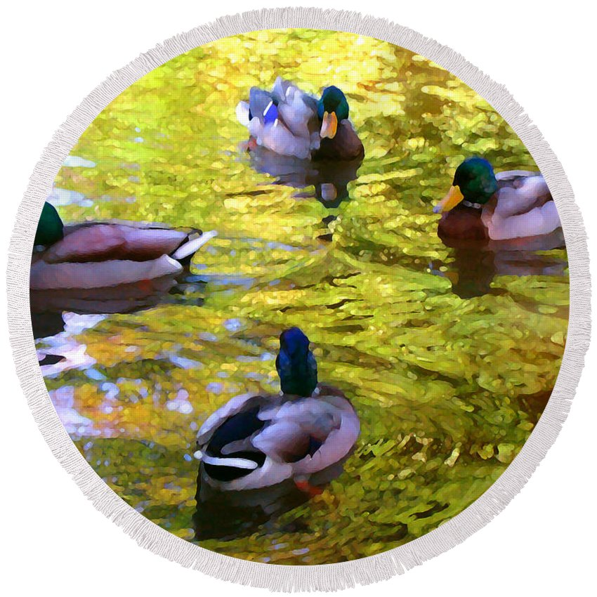 Landscape Round Beach Towel featuring the painting Four Ducks On Pond by Amy Vangsgard