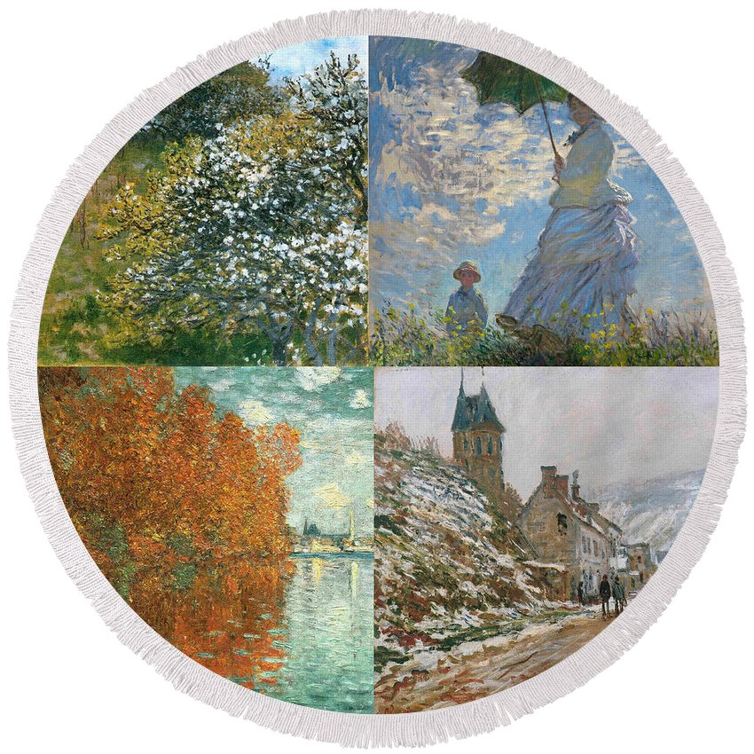 Monet Round Beach Towel featuring the painting Four Seasons A Collage Of Monets by Philip Ralley