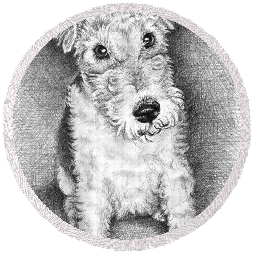 Dog Round Beach Towel featuring the drawing Foxterrier by Nicole Zeug