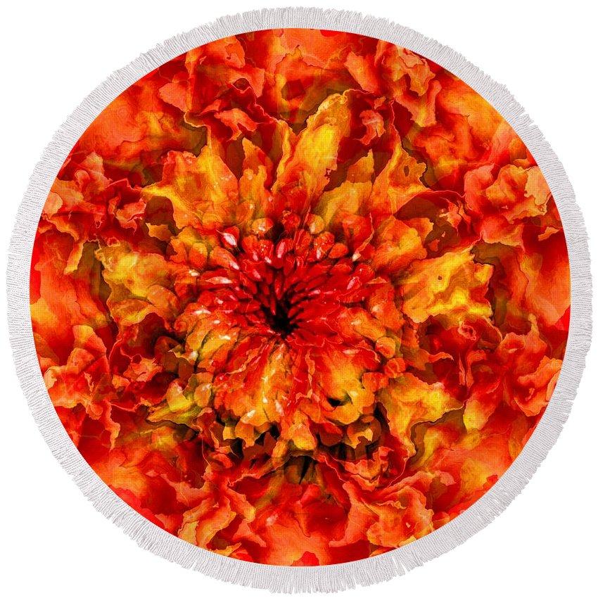 Fractal Art Round Beach Towel featuring the digital art Fractal Chrysanthemum by Elizabeth McTaggart