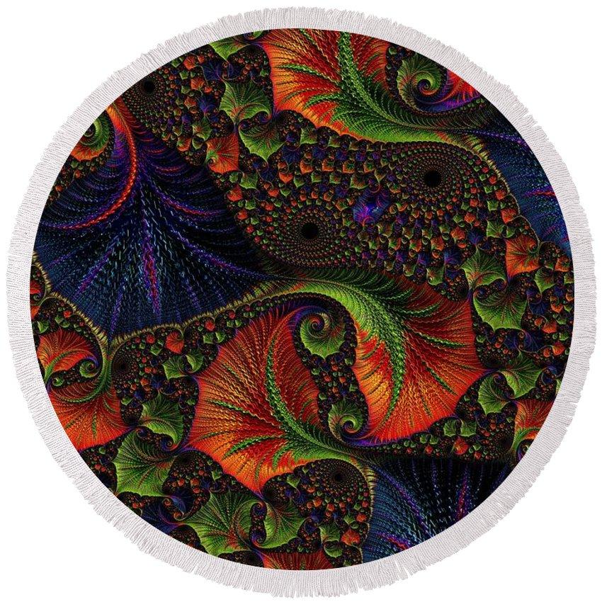Digital Art Round Beach Towel featuring the digital art Fractal Embroidery by Amanda Moore