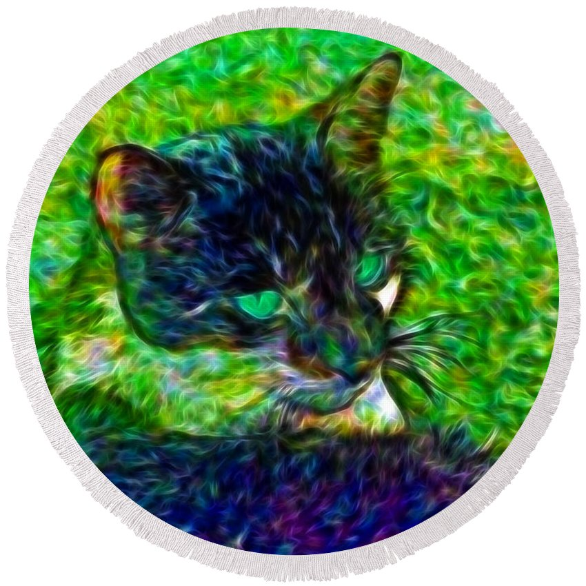 <a Href='http://brian-wallace.artistwebsites.com/featured/filtered-cat-brian-wallace.html' Size='20'><img Src='http://brian-wallace.artistwebsites.com/displayartworkartistwebsites.html?id=5906016&width=250&height=185' Alt='photography Prints' Title='photography Prints' Style='border: None;'></a> Round Beach Towel featuring the photograph Fractalias Feline by Brian Wallace
