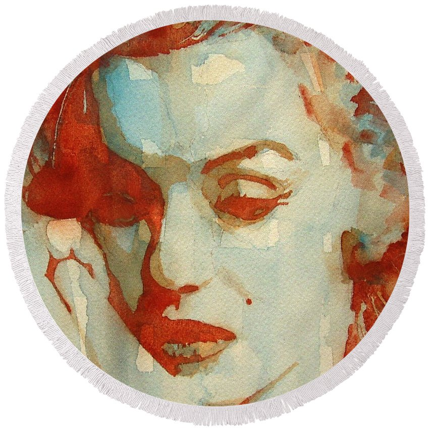Marilyn Monroe Round Beach Towel featuring the painting Fragile by Paul Lovering
