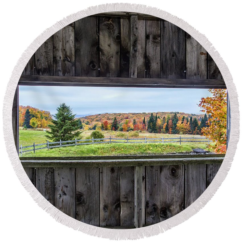 Nature Round Beach Towel featuring the photograph Framed-autumn In Vermont by John Vose