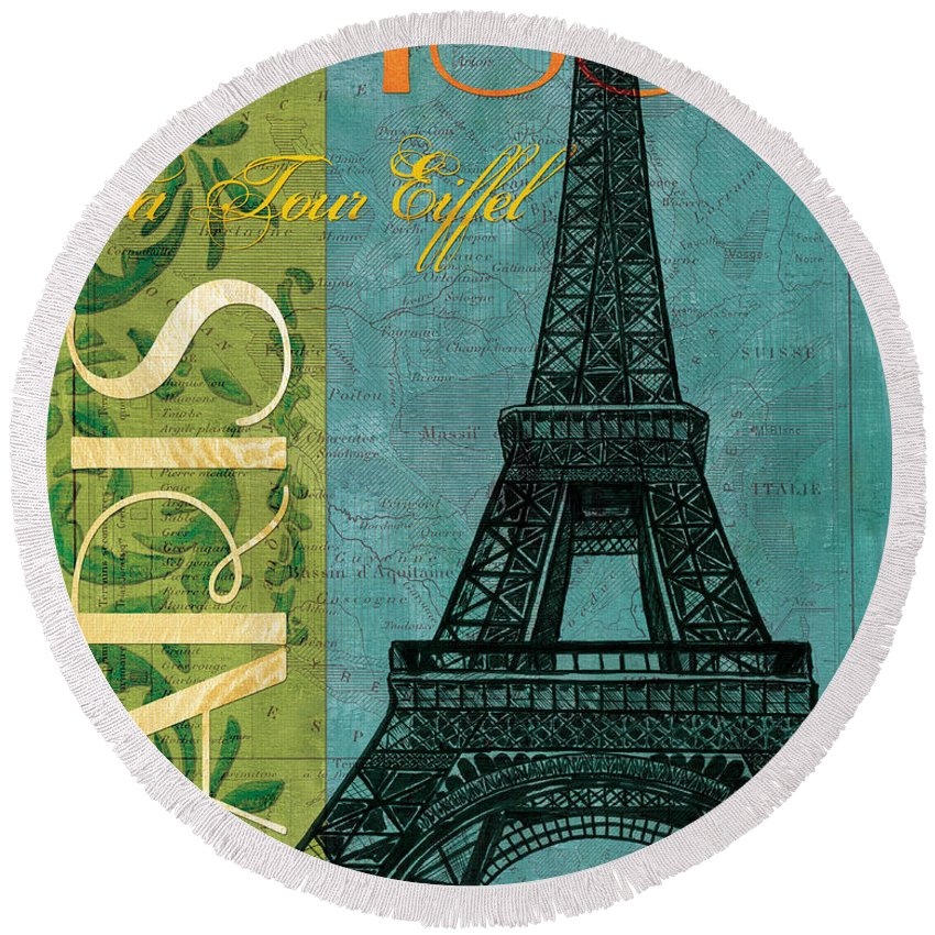 France Round Beach Towel featuring the painting Francaise 1 by Debbie DeWitt