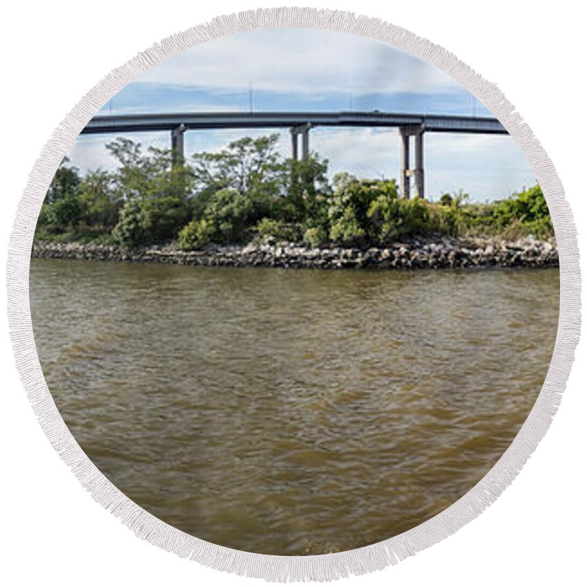 2d Round Beach Towel featuring the photograph Francis Scott Key Bridge - Pano by Brian Wallace