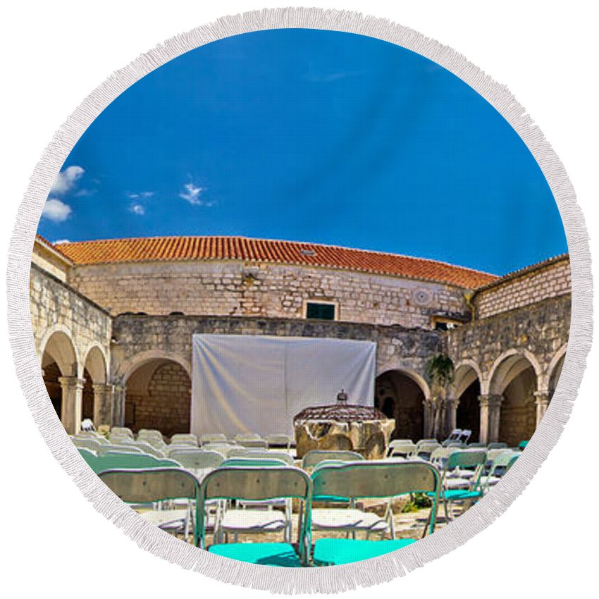 Hvar Round Beach Towel featuring the photograph Franciscian Monastery In Hvar Panorama by Brch Photography