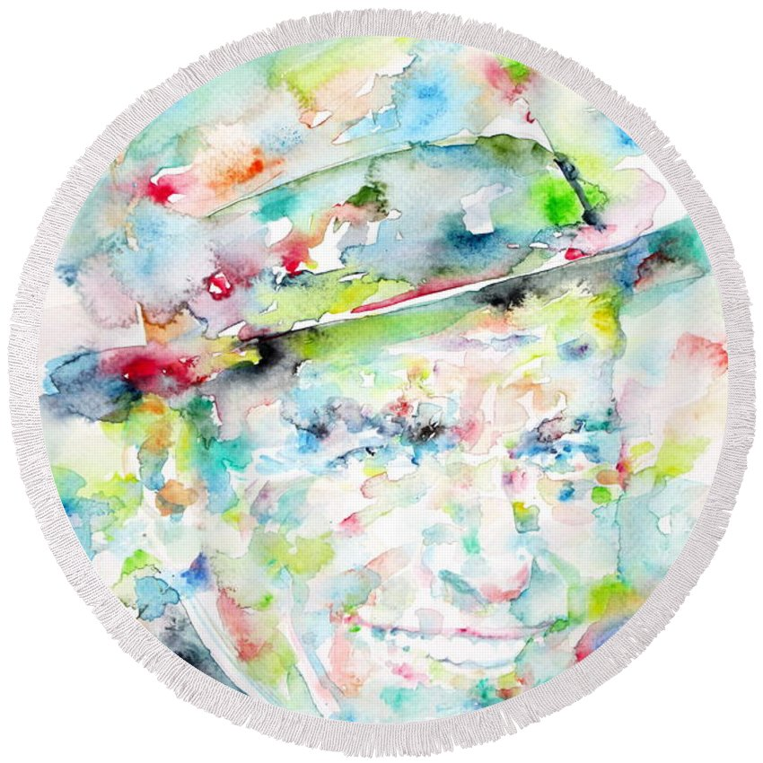 Frank Sinatra Round Beach Towel featuring the painting Frank Sinatra - Watercolor Portrait.1 by Fabrizio Cassetta