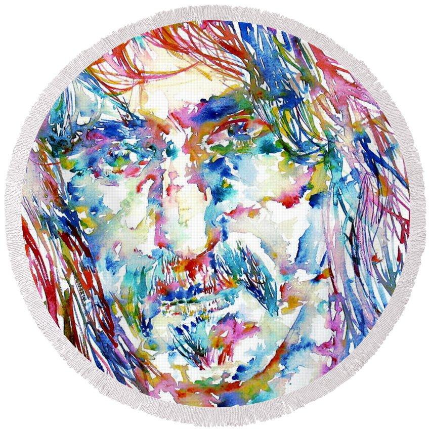Frank Zappa Round Beach Towel featuring the painting Frank Zappa Portrait.3 by Fabrizio Cassetta