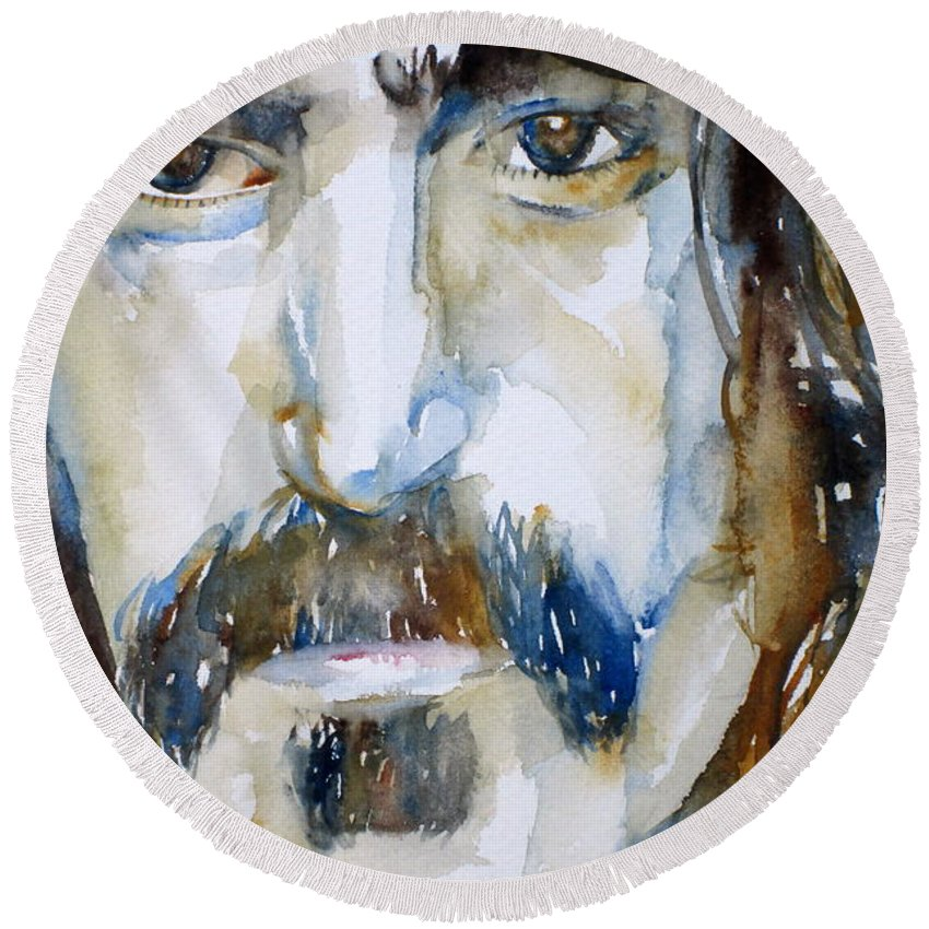 Frank Round Beach Towel featuring the painting Frank Zappa Watercolor Portrait.2 by Fabrizio Cassetta