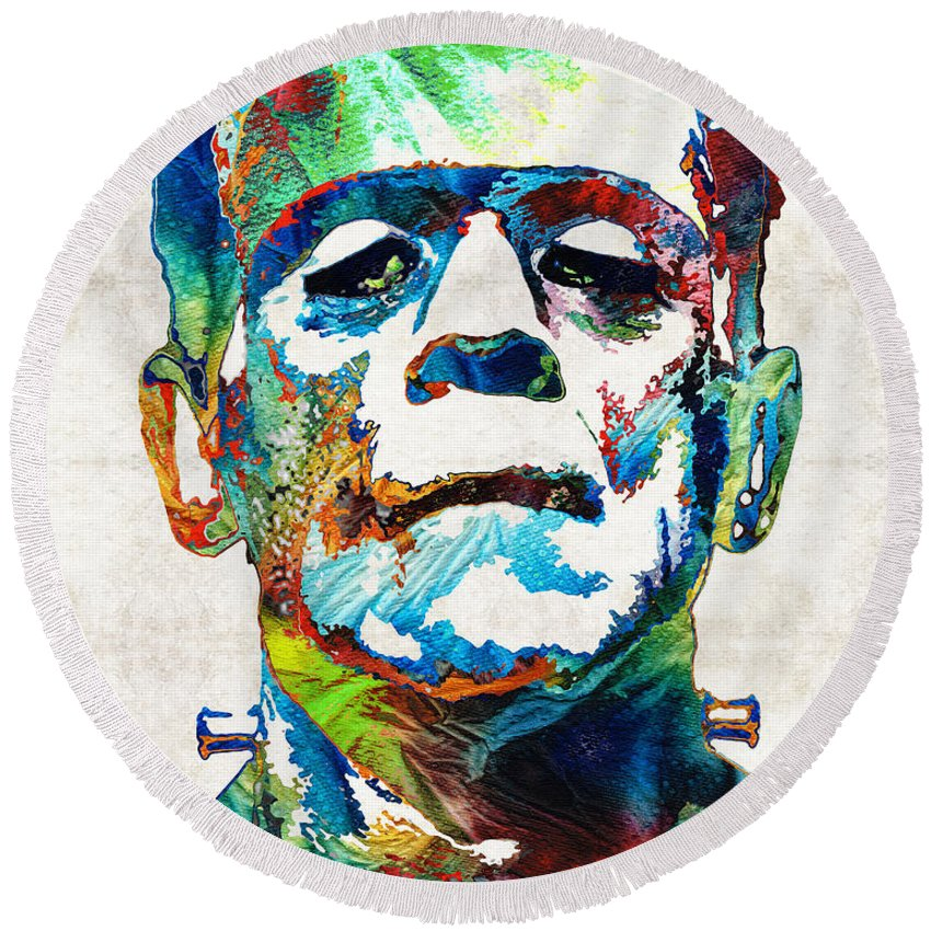 Frankenstein Round Beach Towel featuring the painting Frankenstein Art - Colorful Monster - By Sharon Cummings by Sharon Cummings