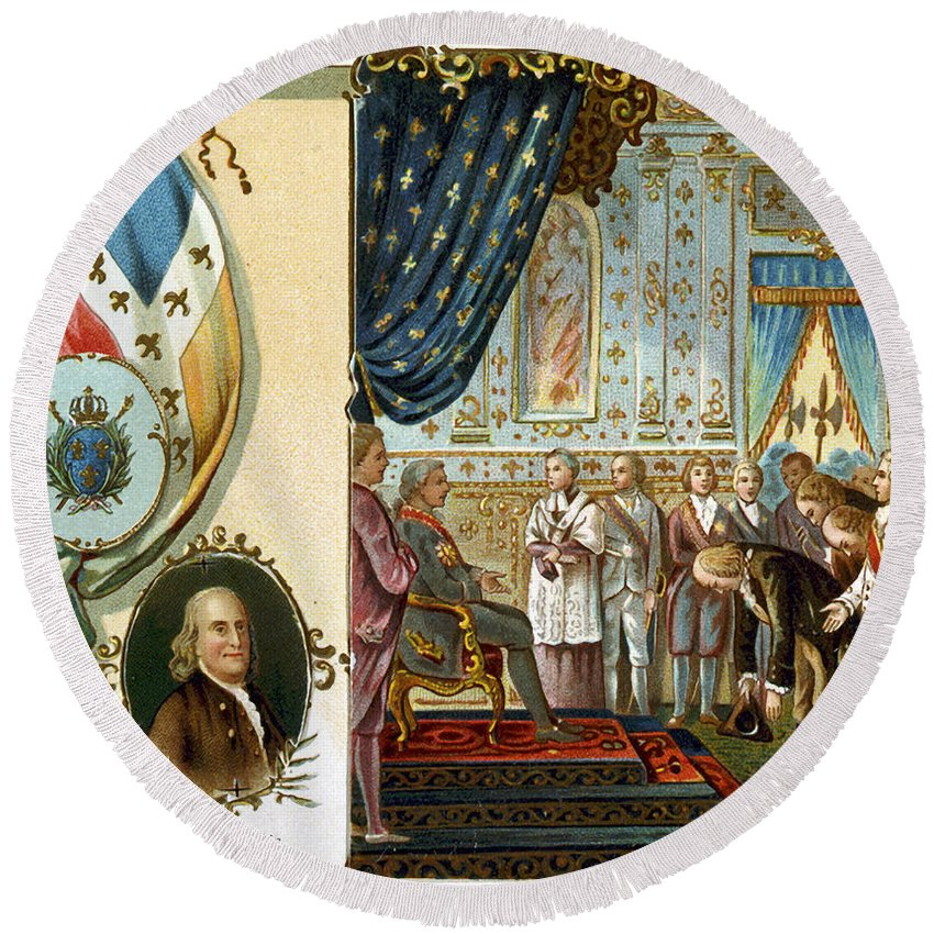 1778 Round Beach Towel featuring the photograph Franklin At Versailles by Granger