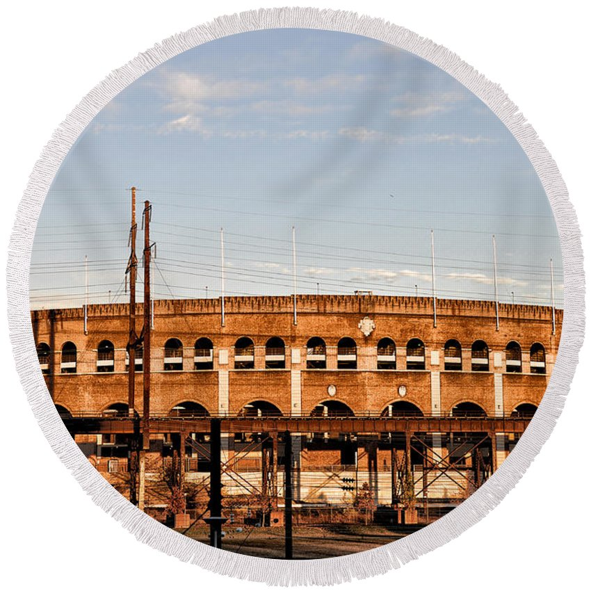 Franklin Field In The Morning Round Beach Towel featuring the photograph Franklin Field In The Morning by Bill Cannon