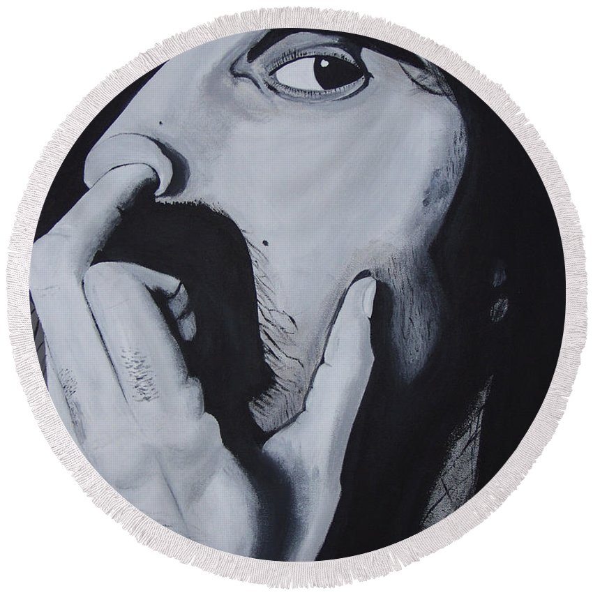 Black And White Round Beach Towel featuring the painting Franklyz by Dean Stephens