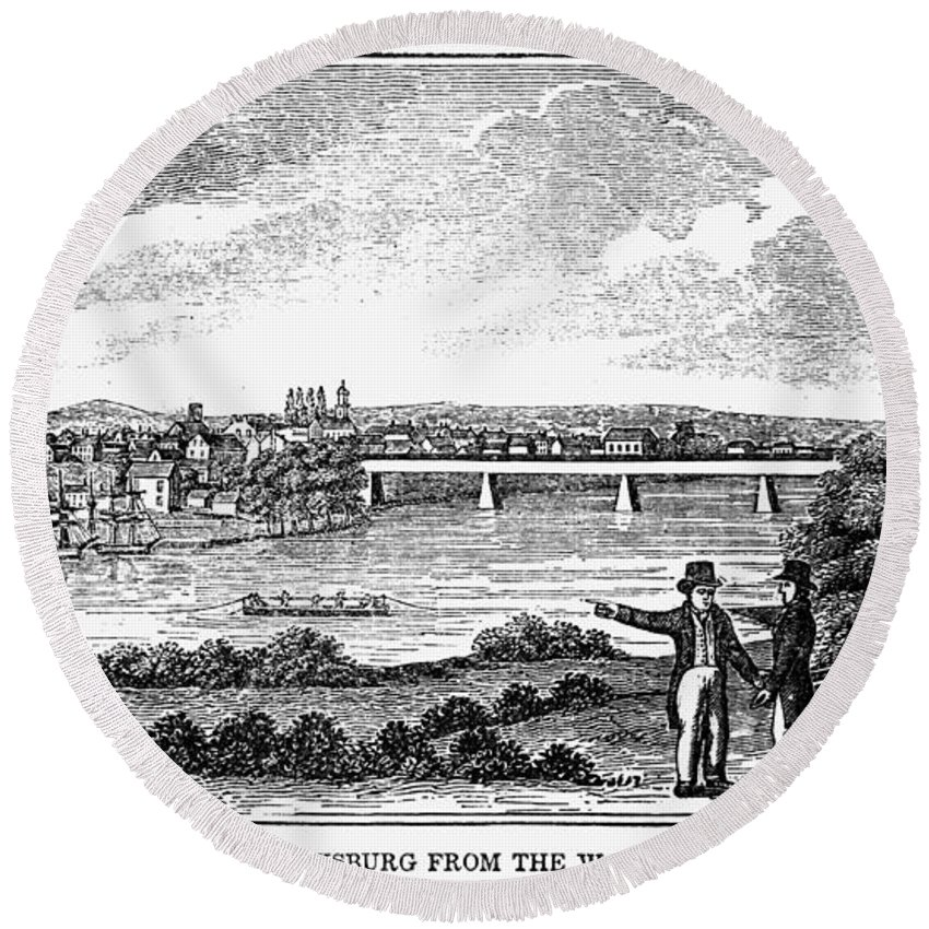 1856 Round Beach Towel featuring the painting Fredericksburg, Virginia by Granger