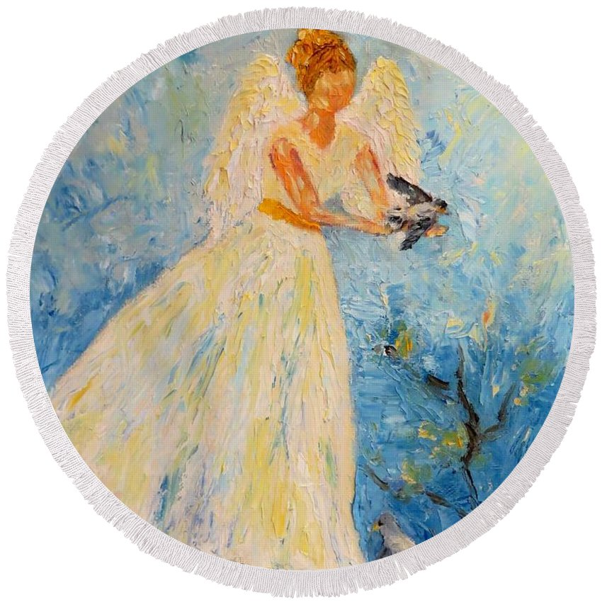 Angel Round Beach Towel featuring the painting Free At Last, Angel by Sandra Reeves
