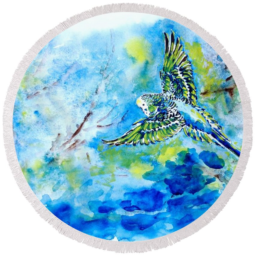 Budgerigar Round Beach Towel featuring the painting Free by Zaira Dzhaubaeva