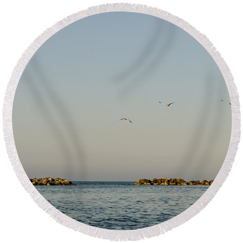 Freedom Round Beach Towel featuring the photograph Freedom by Andrea Mazzocchetti