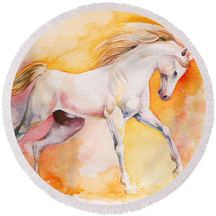 Horse Round Beach Towel featuring the painting Freedom by Tamer and Cindy Elsharouni