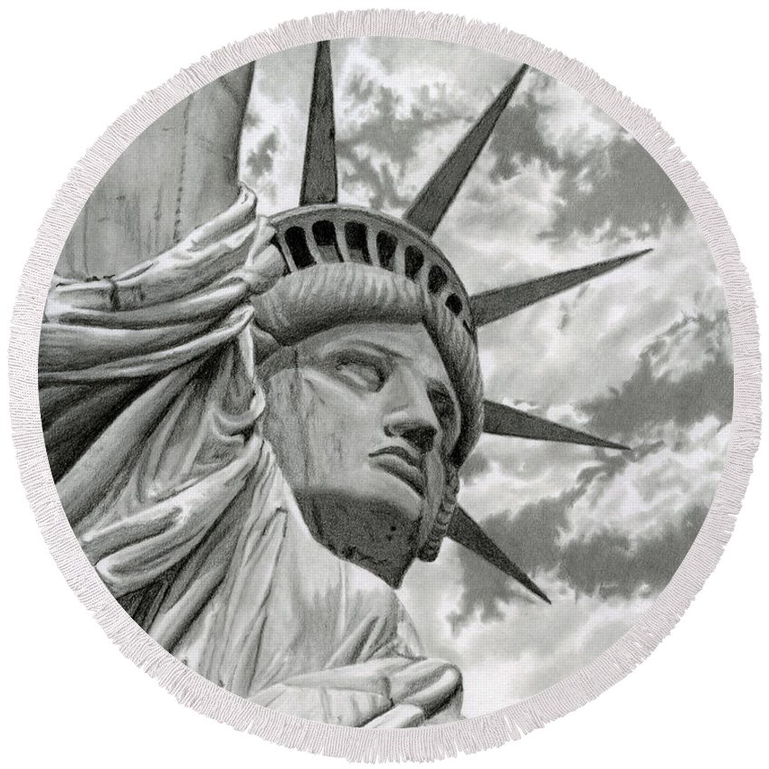 Statue Of Liberty Round Beach Towel featuring the drawing Freedom by Sarah Batalka