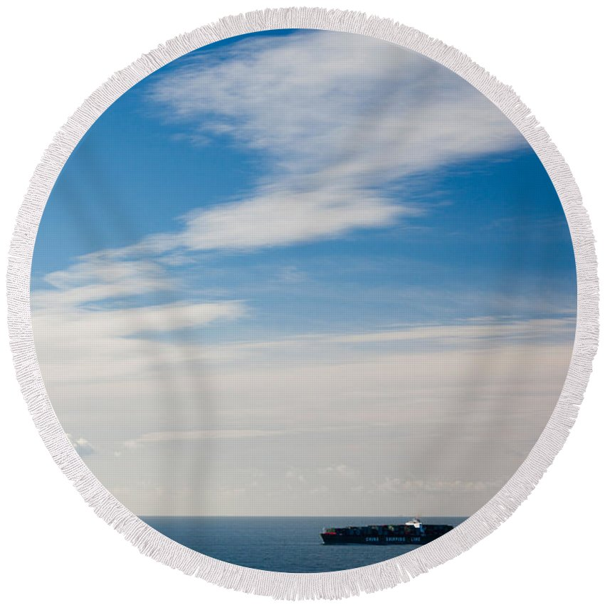 Photography Round Beach Towel featuring the photograph Freighter In The Sea, Point Bonita by Panoramic Images