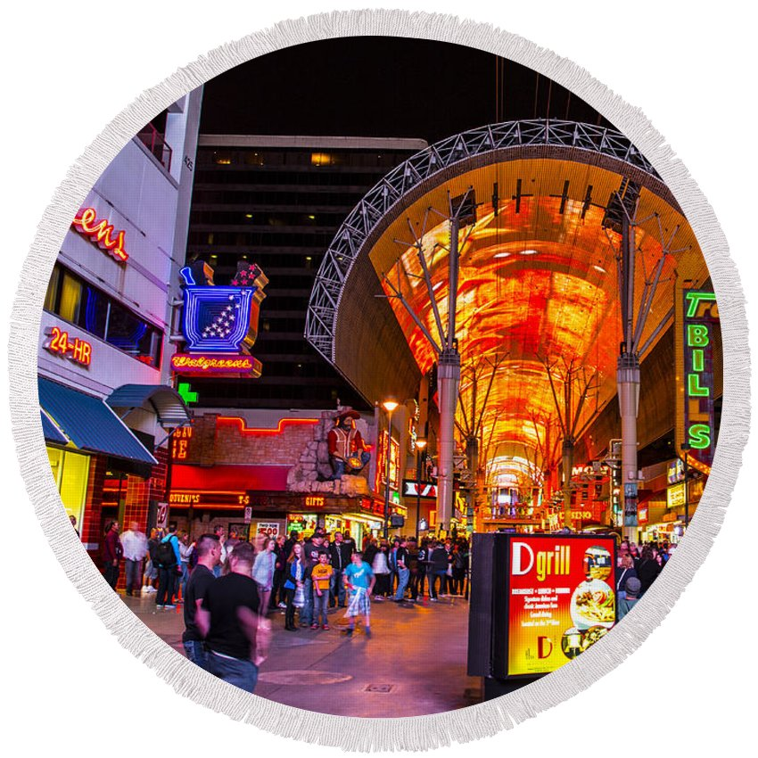 Las Vegas Round Beach Towel featuring the photograph Fremont Street Lights 2 by Angus Hooper Iii