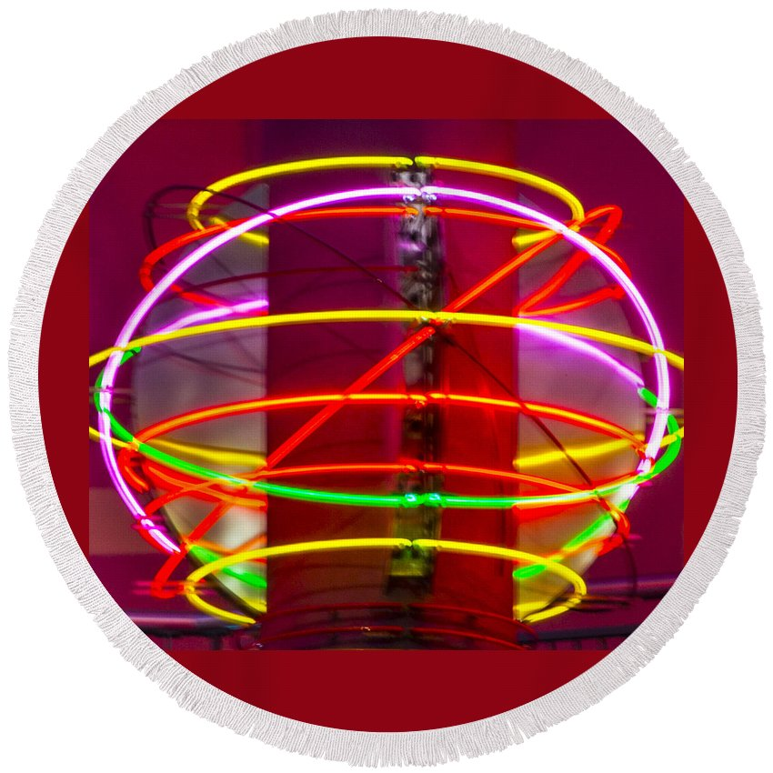 Las Vegas Round Beach Towel featuring the photograph Fremont Street Neon Sphere by Angus Hooper Iii
