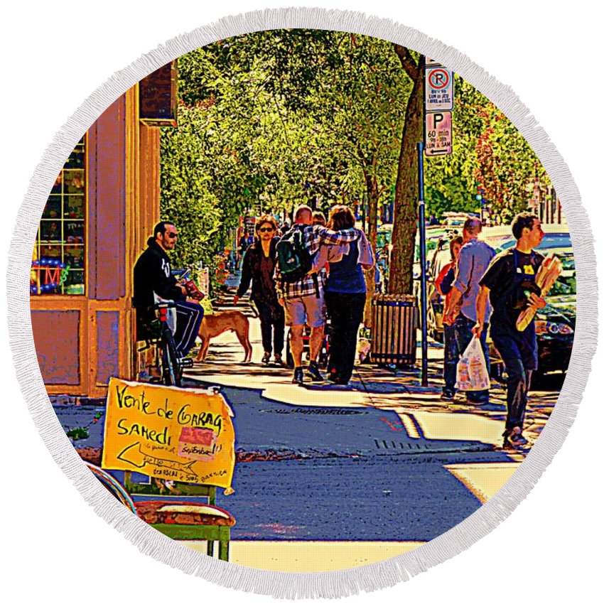 Montreal Round Beach Towel featuring the painting French Bread On Laurier Street Montreal Cafe Scene Sunny Corner With Vente De Garage Sign by Carole Spandau