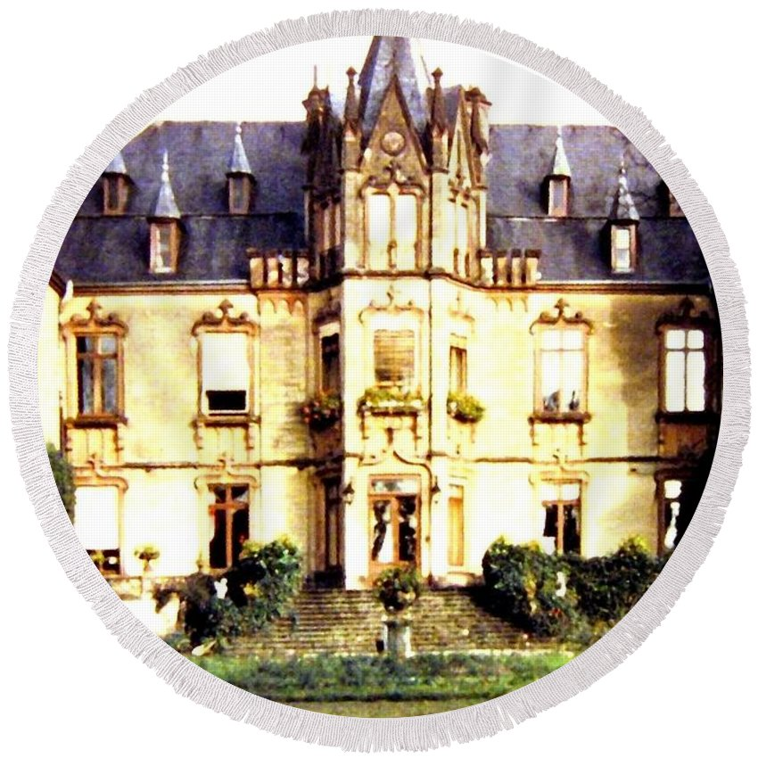 French Chateau 1955 Round Beach Towel featuring the photograph French Chateau 1955 by Will Borden