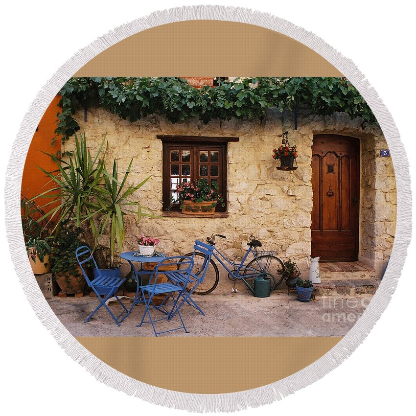 French Round Beach Towel featuring the photograph French Cottage by Holly C. Freeman