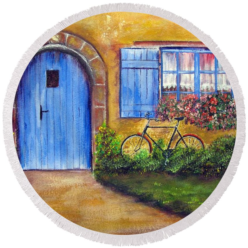 French Round Beach Towel featuring the painting French Cottage by Loretta Luglio