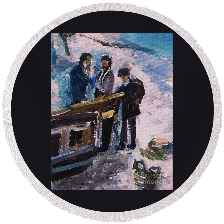 Floral Round Beach Towel featuring the painting French Fishermen At Beach At Sainte Adresse by Eric Schiabor