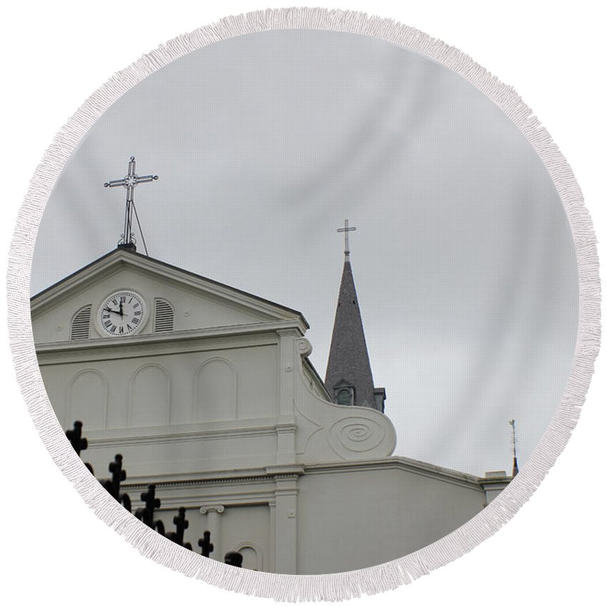 St Louis Cathedral Round Beach Towel featuring the photograph French Quarter Treasure by Iryna Goodall