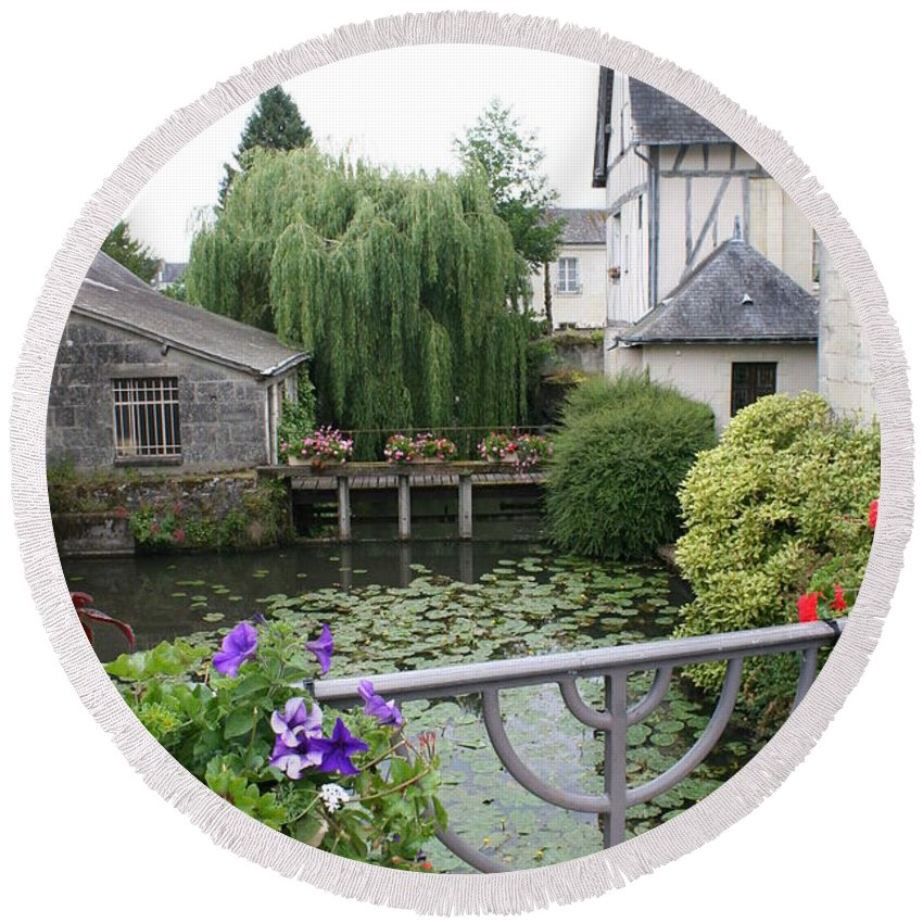 Village Round Beach Towel featuring the photograph French Village by Christiane Schulze Art And Photography