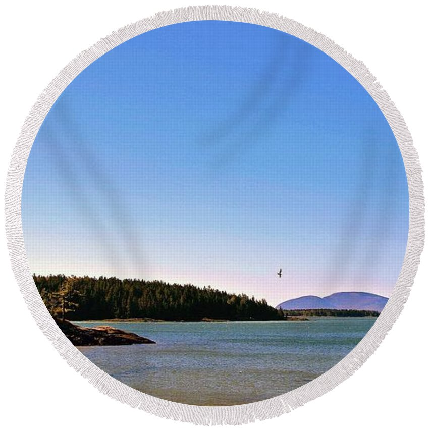 Frenchman's Bay Round Beach Towel featuring the photograph Frenchman's Bay by Laura Mace Rand