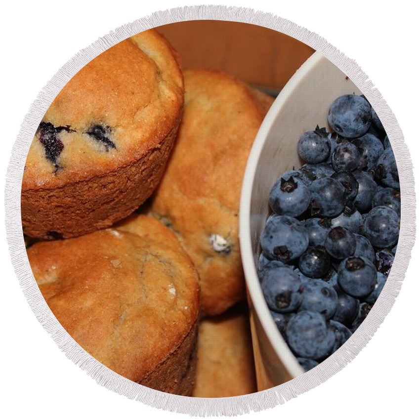 Fresh Blueberries And Muffins Round Beach Towel featuring the photograph Fresh Blueberries And Muffins by Barbara Griffin