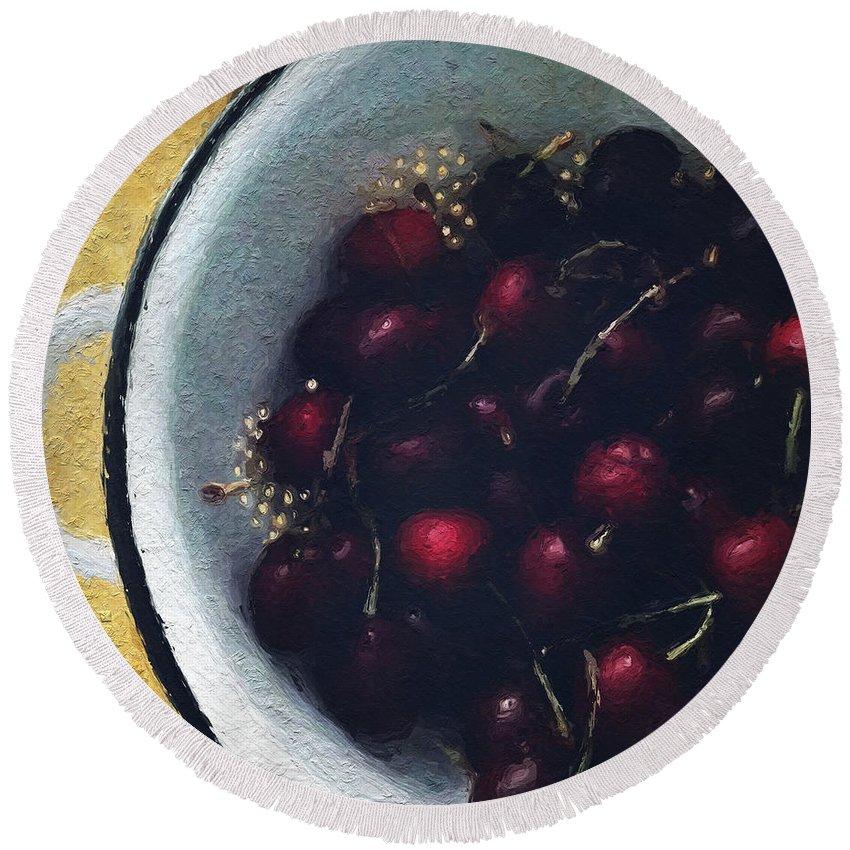 Cherry Round Beach Towel featuring the painting Fresh Cherries by Linda Woods