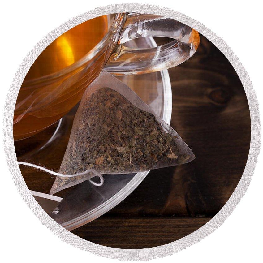 Tea Round Beach Towel featuring the photograph Fresh Glass Cup Of Tea by Simon Bratt Photography LRPS