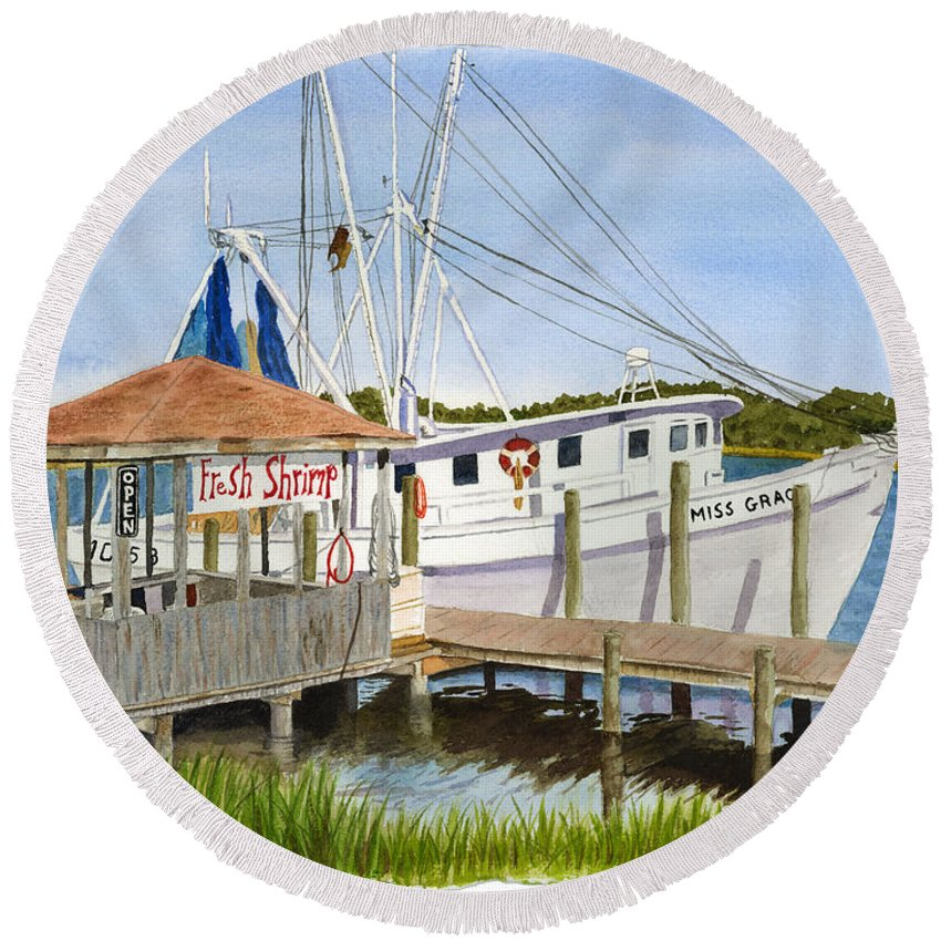 Boat Round Beach Towel featuring the painting Fresh Shrimp by Jill Ciccone Pike