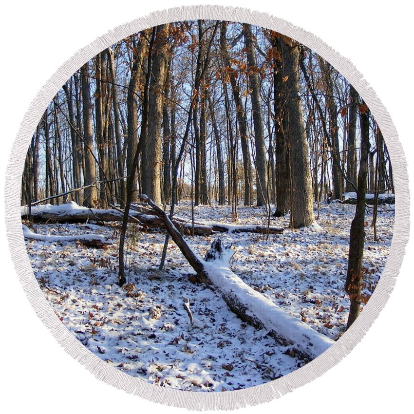Winter Round Beach Towel featuring the photograph Fresh Snow In The Woods by Mark Hudon