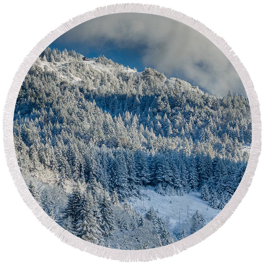 Dramatic Sky Round Beach Towel featuring the photograph Fresh Snow On The Mountain by Greg Nyquist