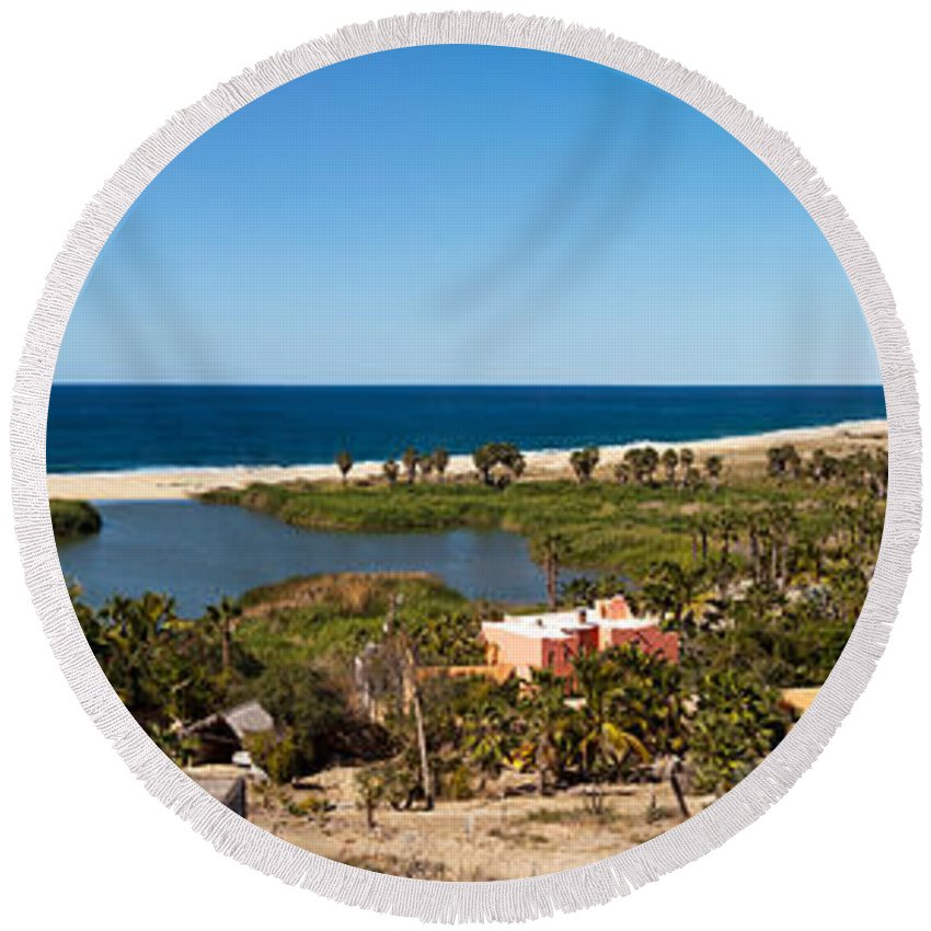 Photography Round Beach Towel featuring the photograph Fresh Water Lagoon At Playa La Poza by Panoramic Images