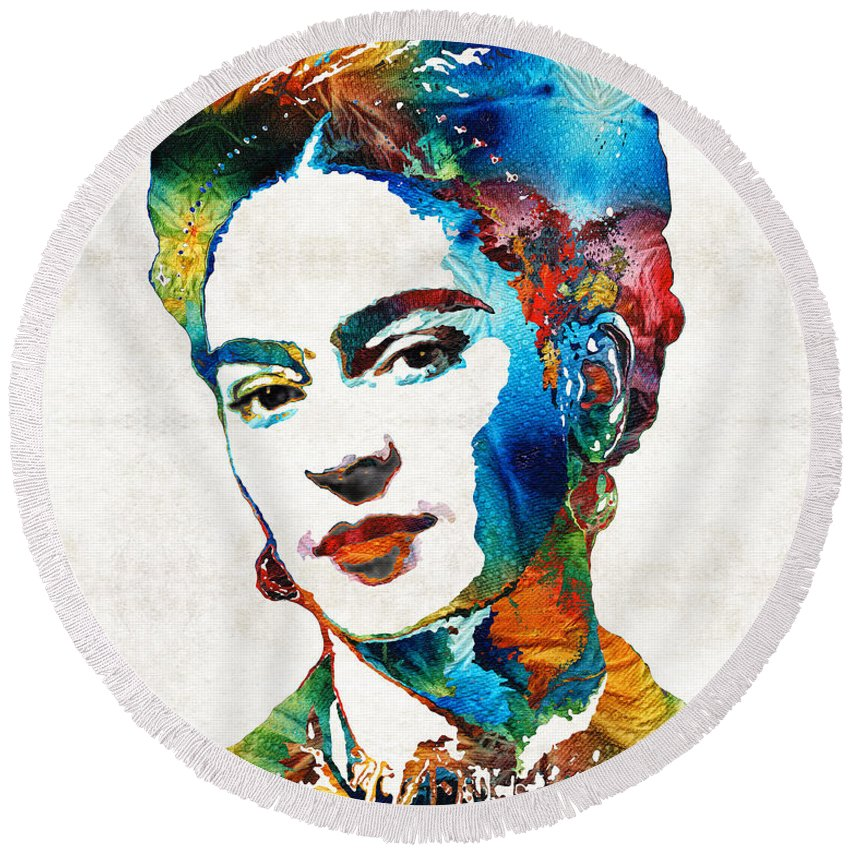Frida Kahlo Round Beach Towel featuring the painting Frida Kahlo Art - Viva La Frida - By Sharon Cummings by Sharon Cummings