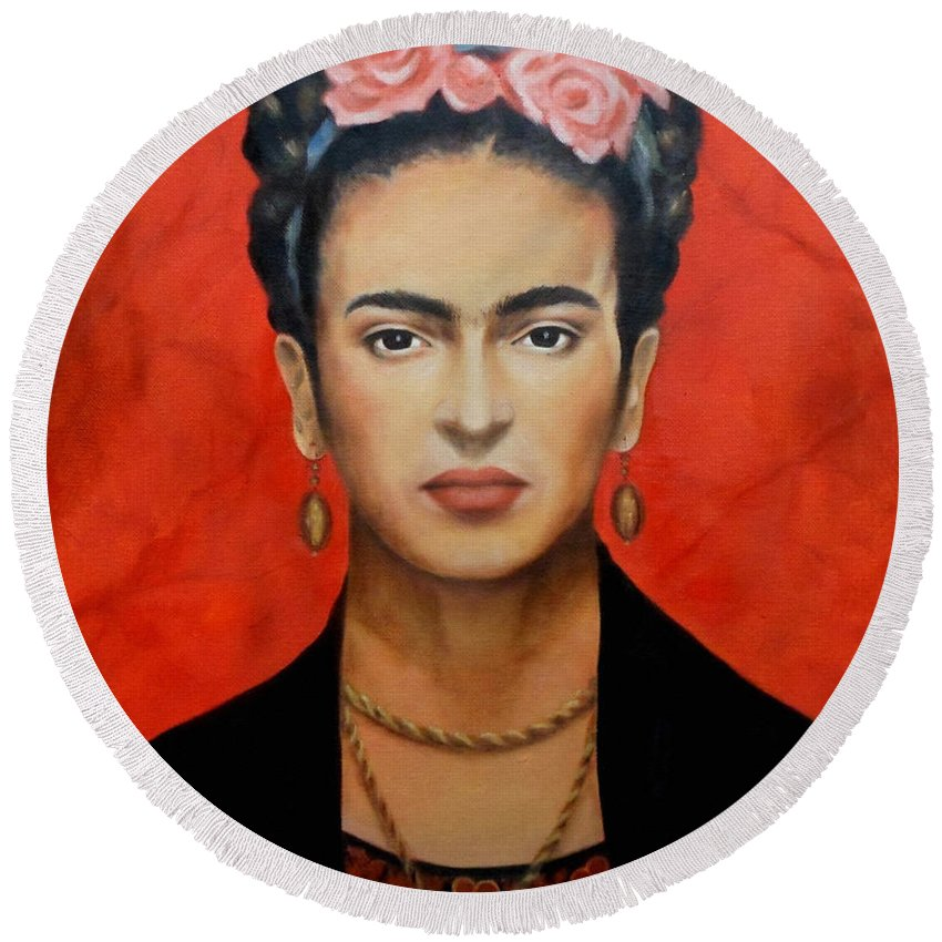 Frida Round Beach Towel featuring the painting Frida Kahlo by Yelena Day
