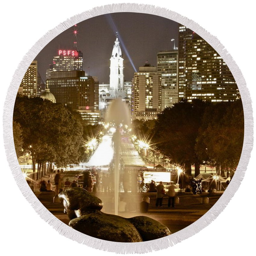 Art Museum Philadelphia Lights Nighttime Round Beach Towel featuring the photograph Friday On The Art Museum Steps by Alice Gipson