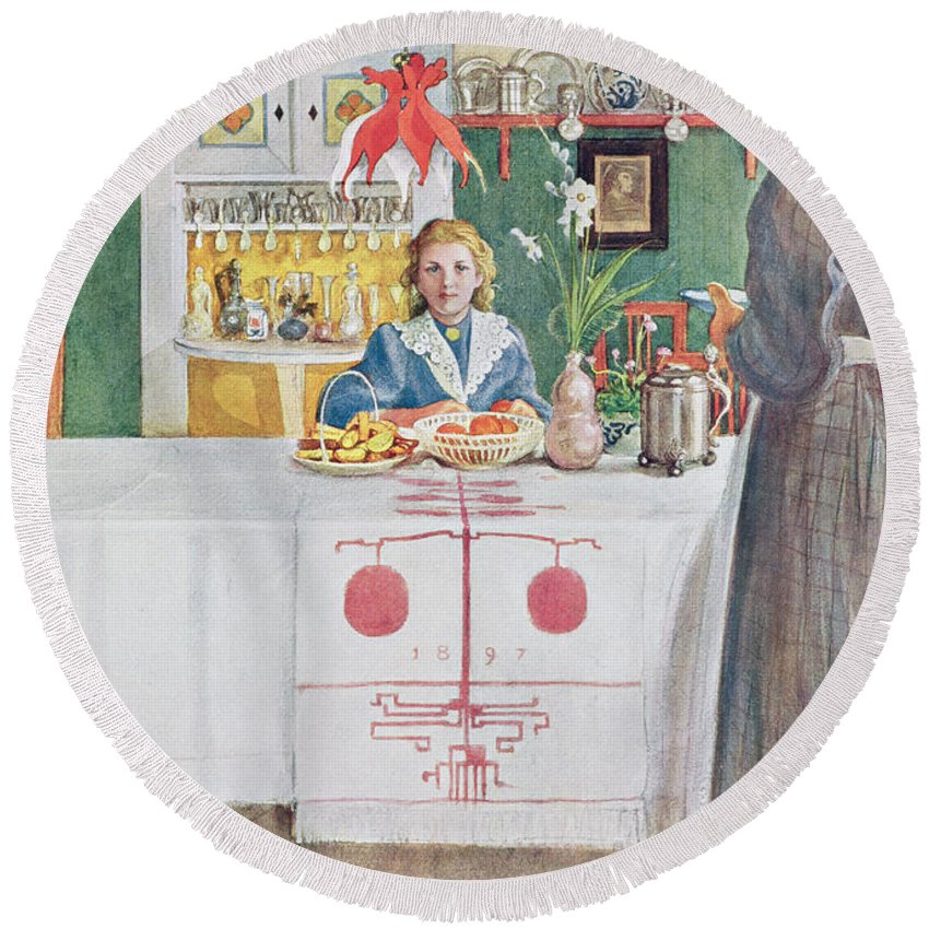 Illustration Round Beach Towel featuring the drawing Friends From The Town - Dining Room by Carl Larsson