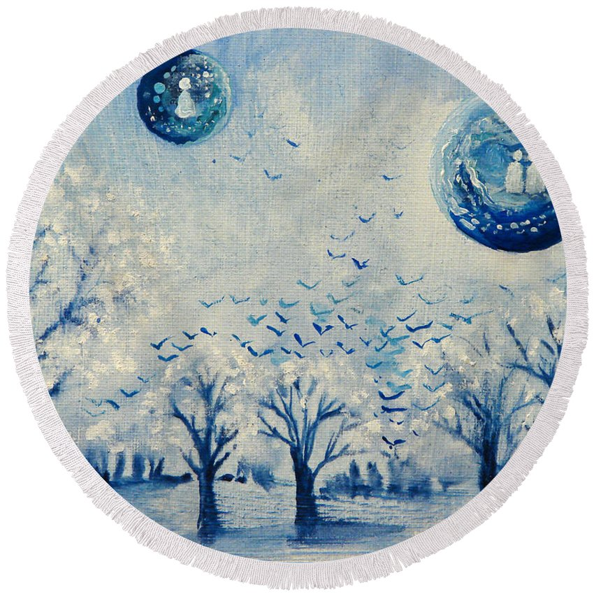 Blue Round Beach Towel featuring the painting Friendships Gaze by Ashleigh Dyan Bayer