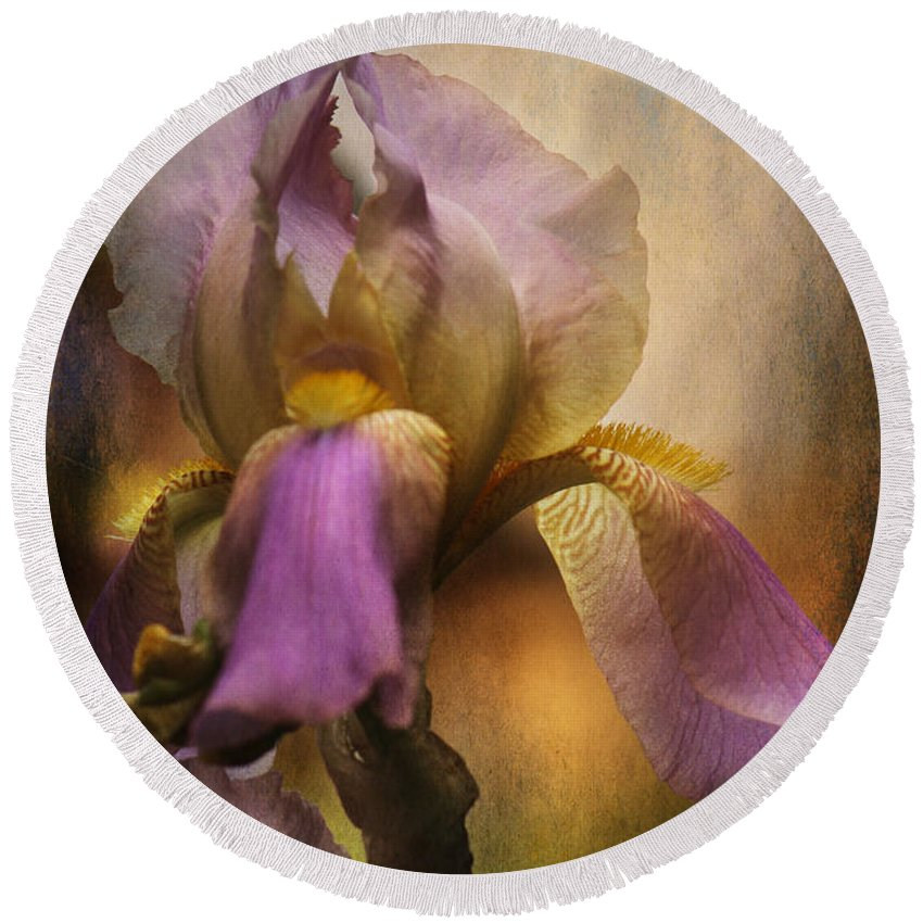 Iris Round Beach Towel featuring the photograph Frilled Beauty by Sari Sauls