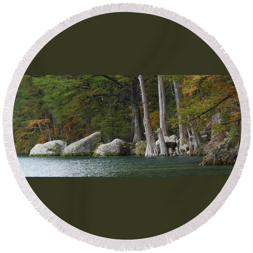 Fall Round Beach Towel featuring the photograph Frio River 2 by Andrew McInnes